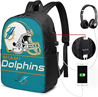 Miami Dolphins Travel Laptop Backpack, Business Anti Theft Slim Durable Laptops Backpack with USB Charging Port, Men's and Women's Business Travel College School Backpacks.