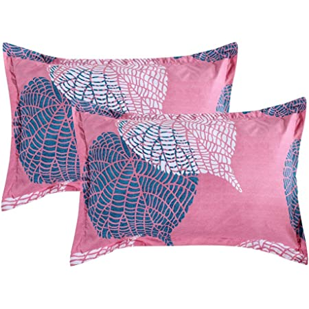 "VAS COLLECTIONS® 105 TC Premium 100% Cotton King Size Printed Design Pillow Cover -20""X30"" Inches,Set of 2 Pieces (Pink & Grey)"