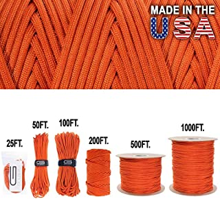 Golberg Outlast Cord 7 Inner Strand Type III Parachute Rope Jute Tinder Military Paracord 550 lb Tensile Strength with Fishing Line Made in The USA