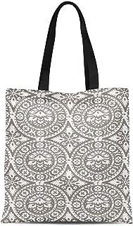 S4Sassy Green Damask Floral Printed Re-Usable Tote Bag Women Shoulder Handbag Travel Shopping Bag 16x12 Inches