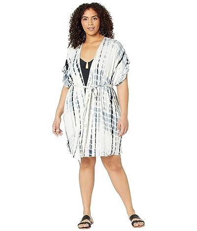 BECCA by Rebecca Virtue Plus Size Tide Pool Tie-Dye Kimono Cover-Up (Black) Women