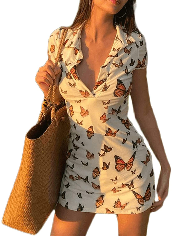 Y2K Women Summer Mini Dress Butterfly Floral Print Lapel Deep-V Neck Dress Slim Fitting Skirt 90s E-Girls Night Out Dress