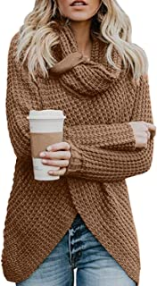 Asvivid Women's Chunky Turtle Cowl Neck Asymmetric Hem Wrap Sweater Coat Button Details