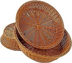 Cuisson à la maison Forme ronde en rotin Handwoven Fruit Basket Alimentation Bonbons Snack Plateau de rangement Cuisine Sa...