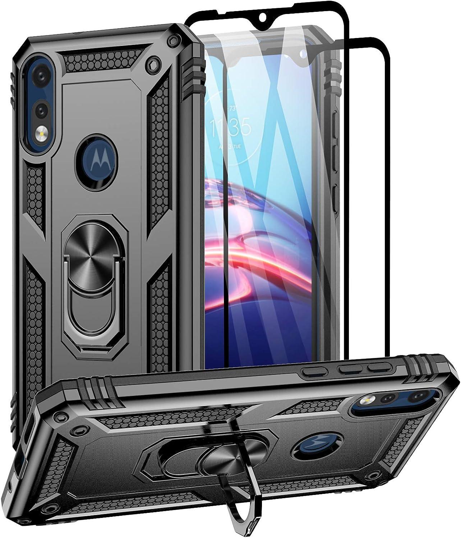Aliruke Case for Moto E 2020/Moto E7 Case with 2 Tempered Glass Screen Protector, Military Grade Drop Tested Cover Grip Ring Kickstand Protective Phone Cases for Motorola Moto E 2020/MotoE7, Black