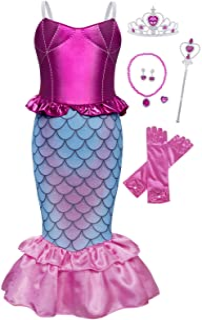 Jurebecia Filles Sirène Costume Princesse Habiller Fantaisie Fête d'anniversaire Halloween Enfants Robes