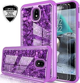 Galaxy J7 Refine/ J7 2018/ J7 Star/ J7 Top/ J7 Aura/J7 Aero/Crown/Eon Case w/Tempered Glass Screen Protector for Girls Women,LeYi Seashell Pattern Marble Phone Case for Samsung J7 V 2nd Gen BKW Purple
