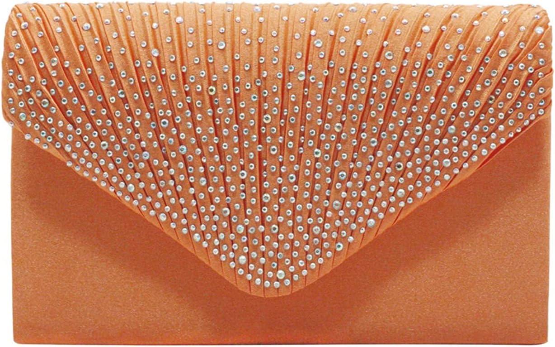 MKOIJN Clutch Evening Bag Evening Wedding Birthday Shoulder Bag Handbag Clutch for Women (Color : Orange)