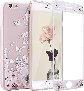 Sasairy iPhone6/iPhone6s ケース 4.7インチ シリコン iPhone6/iPhone6sカバー保護フィルム付きTPUケース 超軽量 ソフト 滑り止め アイフォン6/6s カバー 薄型 一体型 おしゃれ 綺麗 花柄プリント 防圧 耐衝撃 簡約風 女性用