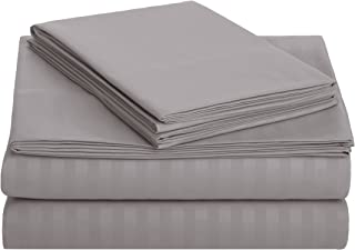 AmazonBasics Deluxe Striped Microfiber Bed Sheet Set - Queen, Dark Grey