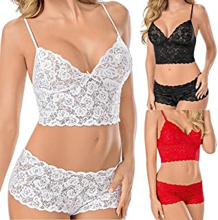 Qiopes Women Spaghetti Strap Bikini Set Lace Two Piece Set with G-String Sleepw Corpetti e canottiere