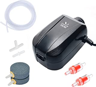 Uniclife Aquarium Air Pump 4 Watt 4-LPM 2 Outlets with Accessories, Adjustable Oxygen..