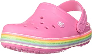 Crocs Unisex-Child Kid's Crocband Rainbow Glitter Clog|Slip on Girls' Sandal|Water Shoe