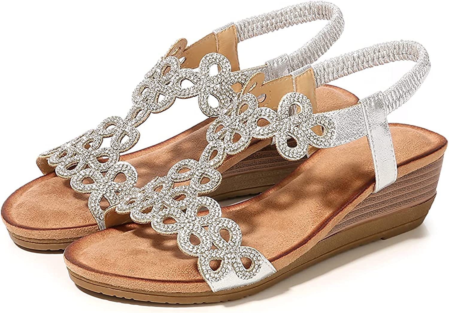 STMAHER Summer Wedge Sandals for Women Casual Elastic Band Rhinestone Breathable Cutout Platform Dress Sandals Comfy Walking Beach Shoes Size 5-12 US