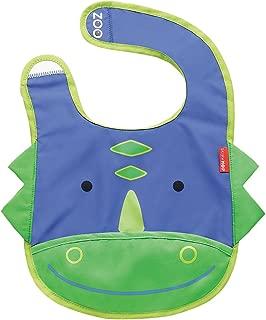 Skip Hop Zoo Little Kid and Toddler Tuck-Away Water Resistant Baby Bib, 6 Months +, Multi Dakota Dinosaur