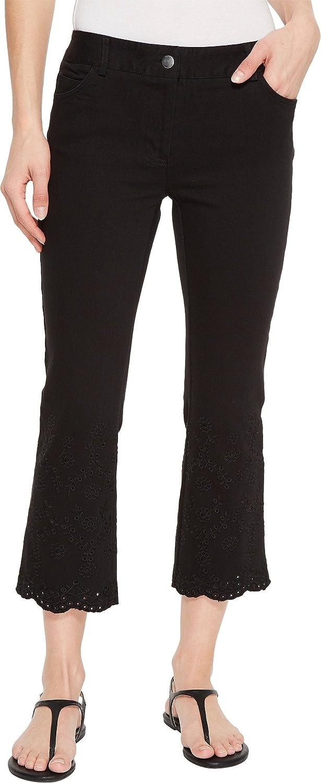 Elliott Lauren Womens FivePocket Crop Jeans With Eyelet Hem in Black