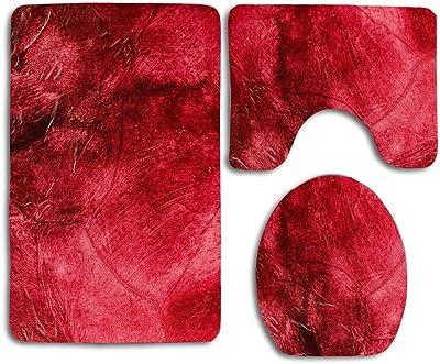 Bathroom Set Mat Rug Lid Cover Fluffy Long Hair Faux Fur Shag 3pc #9 LIGHT PINK