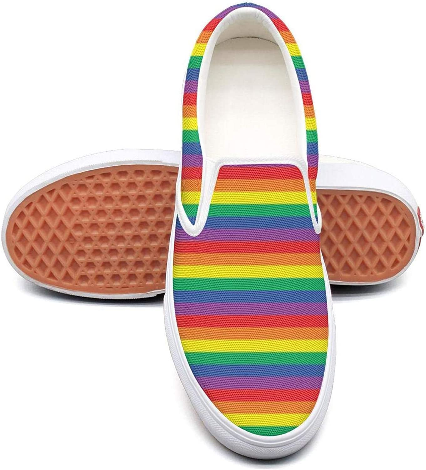 Refyds-es Beautiful Rainbow Stripes Women's Fashion Slip On Low Top Lightweight Canvas Sneakers shoes