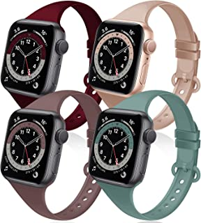 Acrbiutu Bands Compatible with Apple Watch 38mm 40mm 42mm 44mm, 4 Pack Thin Slim Narrow Replacement Soft Silicone Sport Ac...