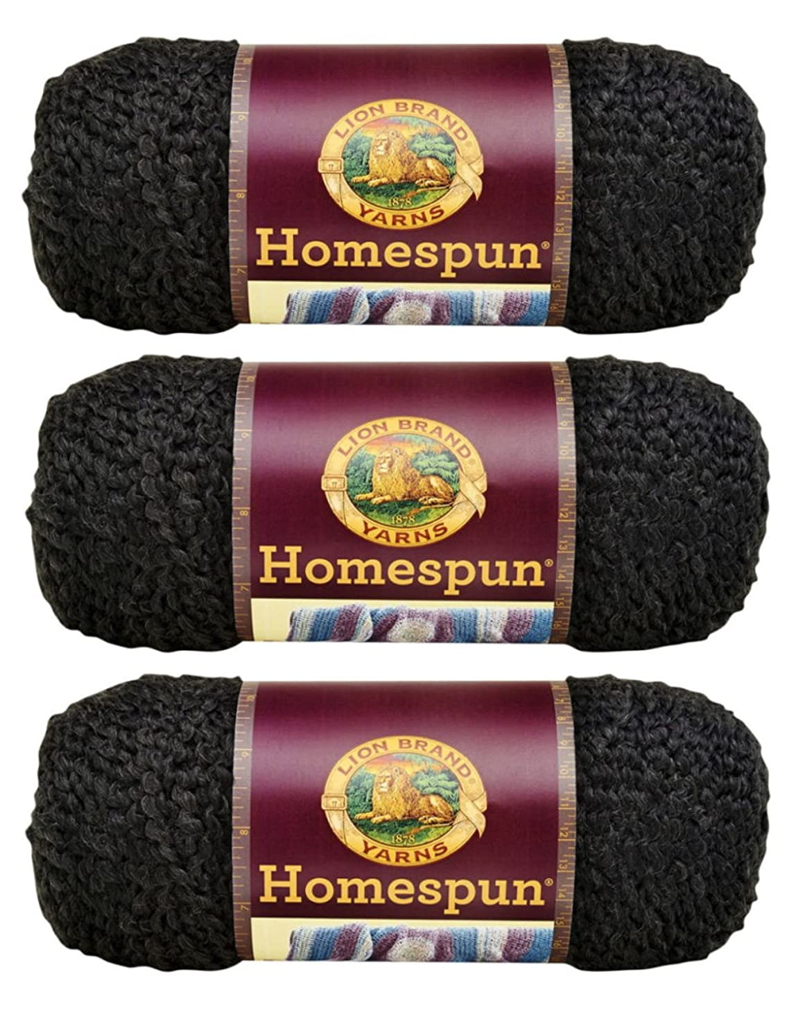 Bulk Buy: Lion Brand Homespun Yarn (3-Pack) Black 790-373
