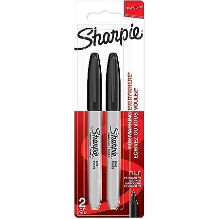 Sharpie marqueurs indélébiles | pointe fine | encre noir permanent | Lot de 2