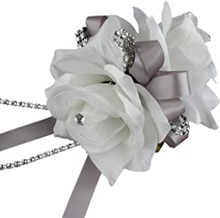 Angel Isabella Double White Roses Wrist Corsage for Prom, Party, Wedding