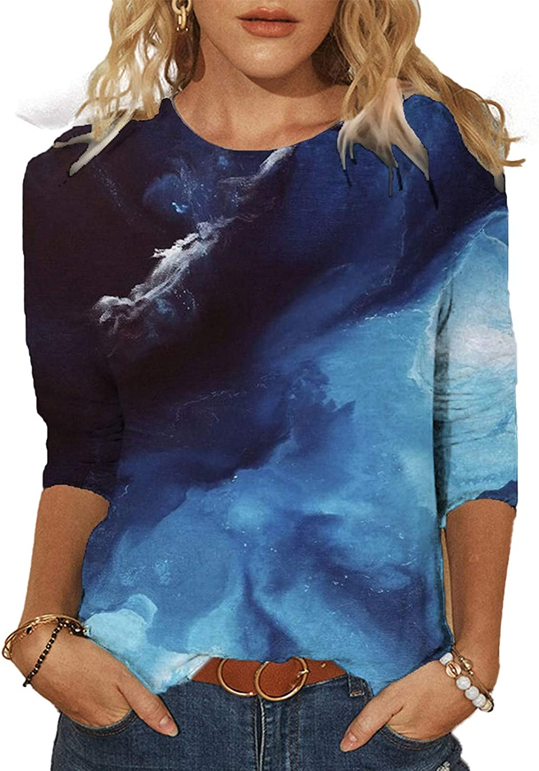 Masbird Shirt for Women Casual Summer Fashion Tops Round Neck Loose Soft Blouse Dressy Colorful Summer Tops