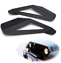 iJDMTOY 20-22-Inch Single/Double Row LED Light Bar Front GrilleAbove Bumper Mounting Brackets For 2007-17 Jeep Wrangler JK