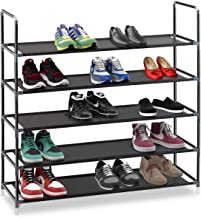 Halter 5 Tier Closet Shoe Rack Organizer, Entryway Stackable Shoe Storage, Simple, Sturdy & Durable Stainless Steel Frame Organizer Holds 25 Pairs of Shoes, Black