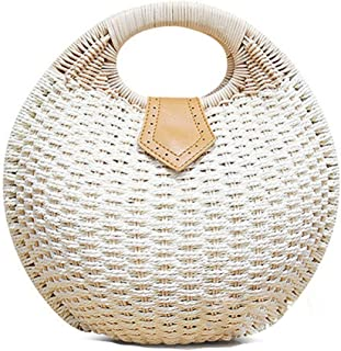 Wicker Woven Crossbody Straw Beach Bucket Summer Fashion Vacation Women Top Handle Handbag