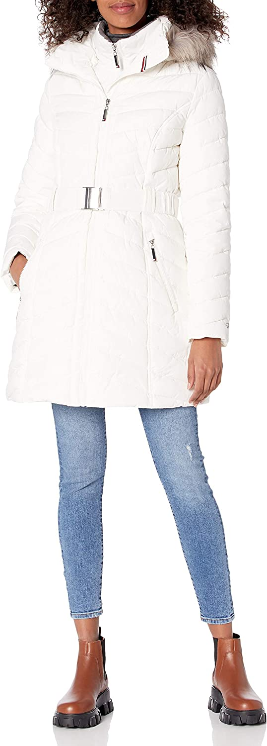 Tommy Hilfiger Women's Quilted Faux Fur Trim Hood Long Puffer Jacket
