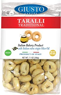 Giusto Sapore Traditional Taralli Crackers 7.1oz. with Italian Extra Virgin Oil - Premium Gourmet Puglia Bari Vegan GMO Free - Imported from Italy and Family Owned - Great with Sauces and Basil
