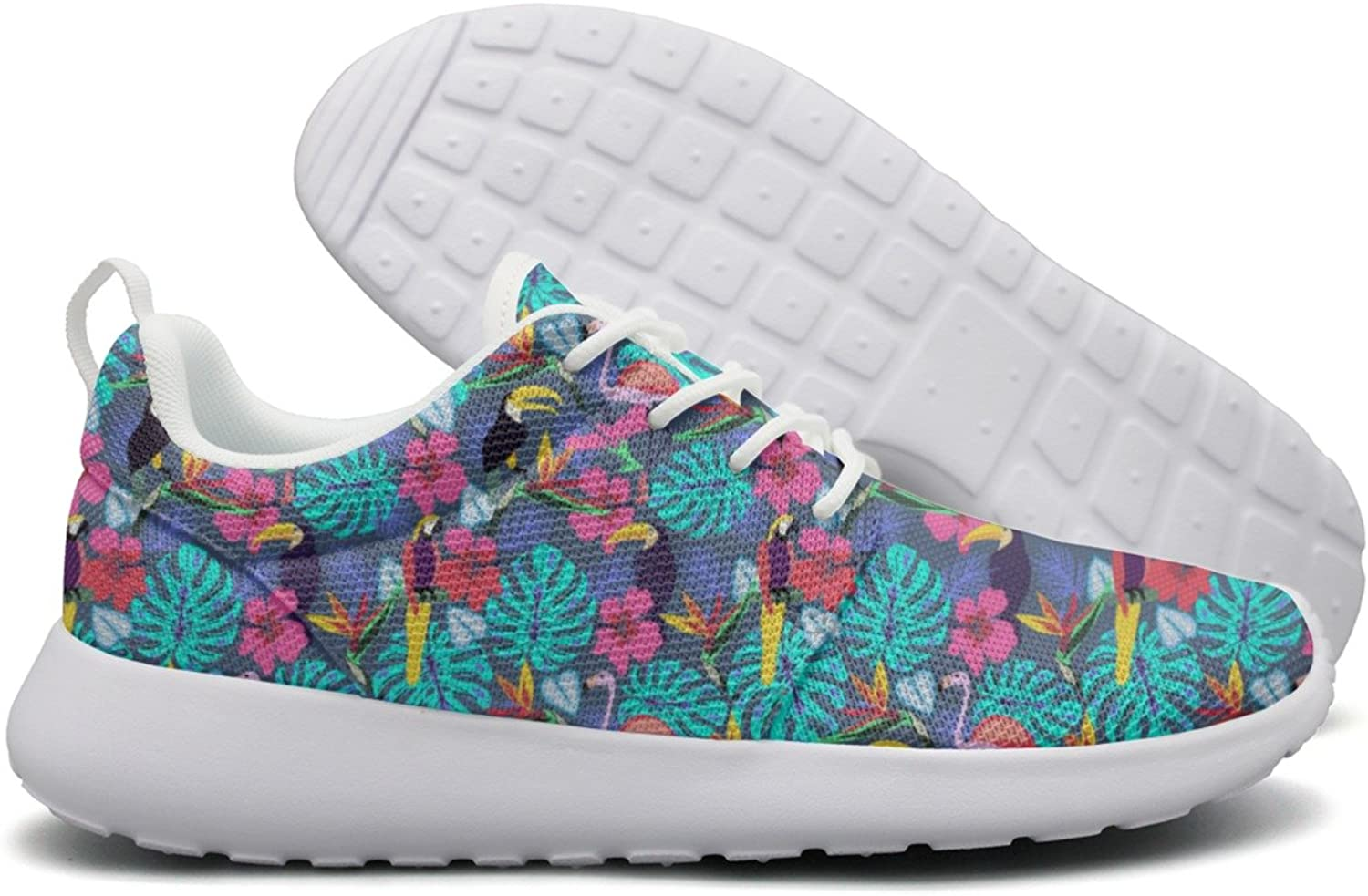 Tropical Plants And Flowers With Toucan Parred Womens New Casual Running shoes Navy Gift