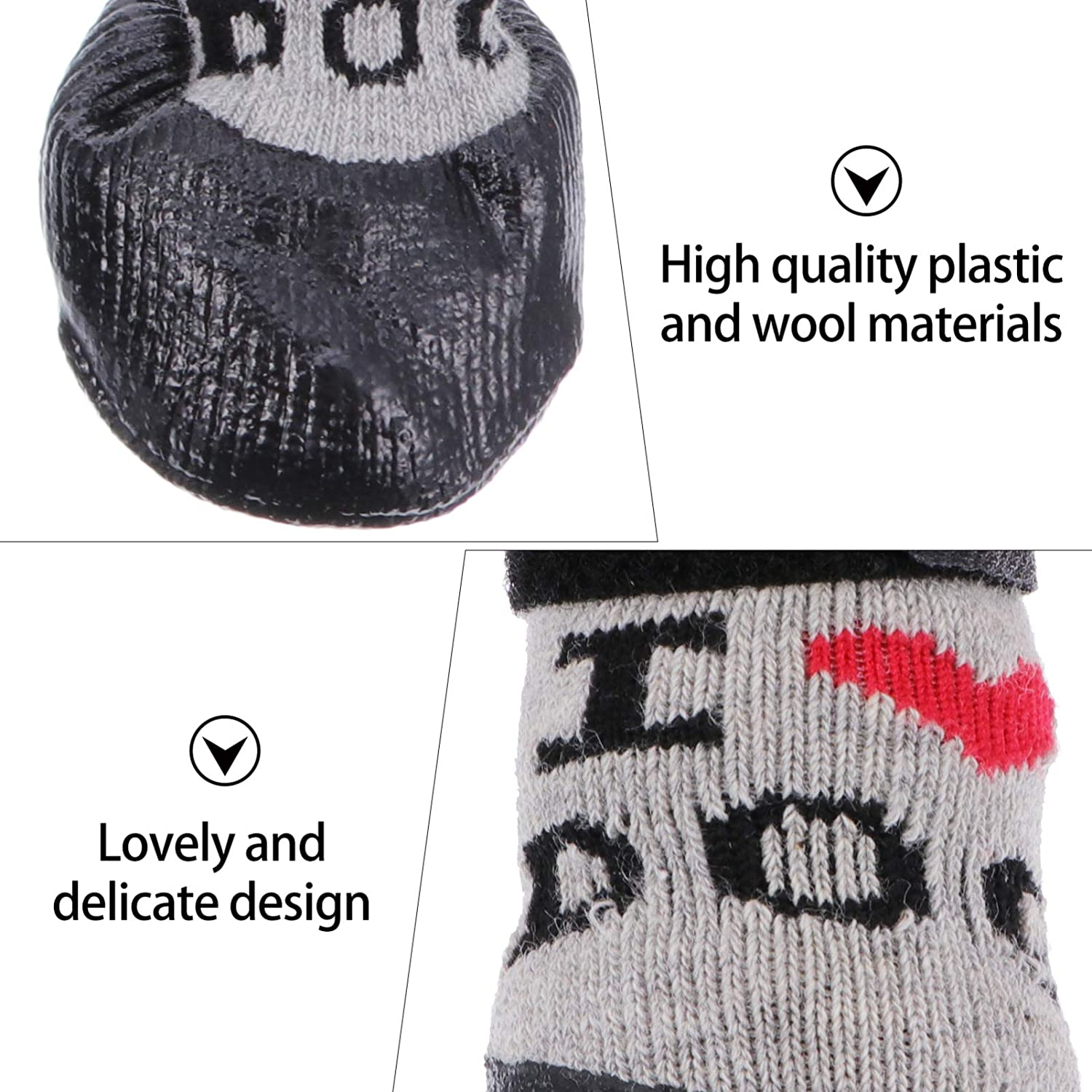 Balacoo 4pcs Dog Socks Anti-Skid Dog Boots with Adjustable Straps Pet Paw Protector for Indoor Foot Wear S