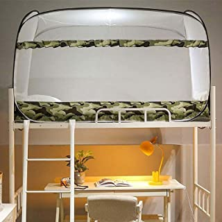 NIUASH Student mosquito net, 3 doors, single bed, thick fall prevention mosquito net, fully foldable, student dormitory, o...
