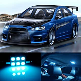 skylightauto 10pcs LED Premium ICE Blue Light Interior Package Deal for Mitsubishi Lancer Evo X 2008-2017