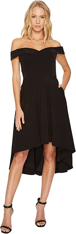 Aidan Mattox - Off the Shoulder High-Low Stretch Crepe Dress