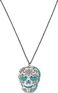 Betsey Johnson Engraved Double Skull Pendant Long Necklace, Teal (310664SLV442)
