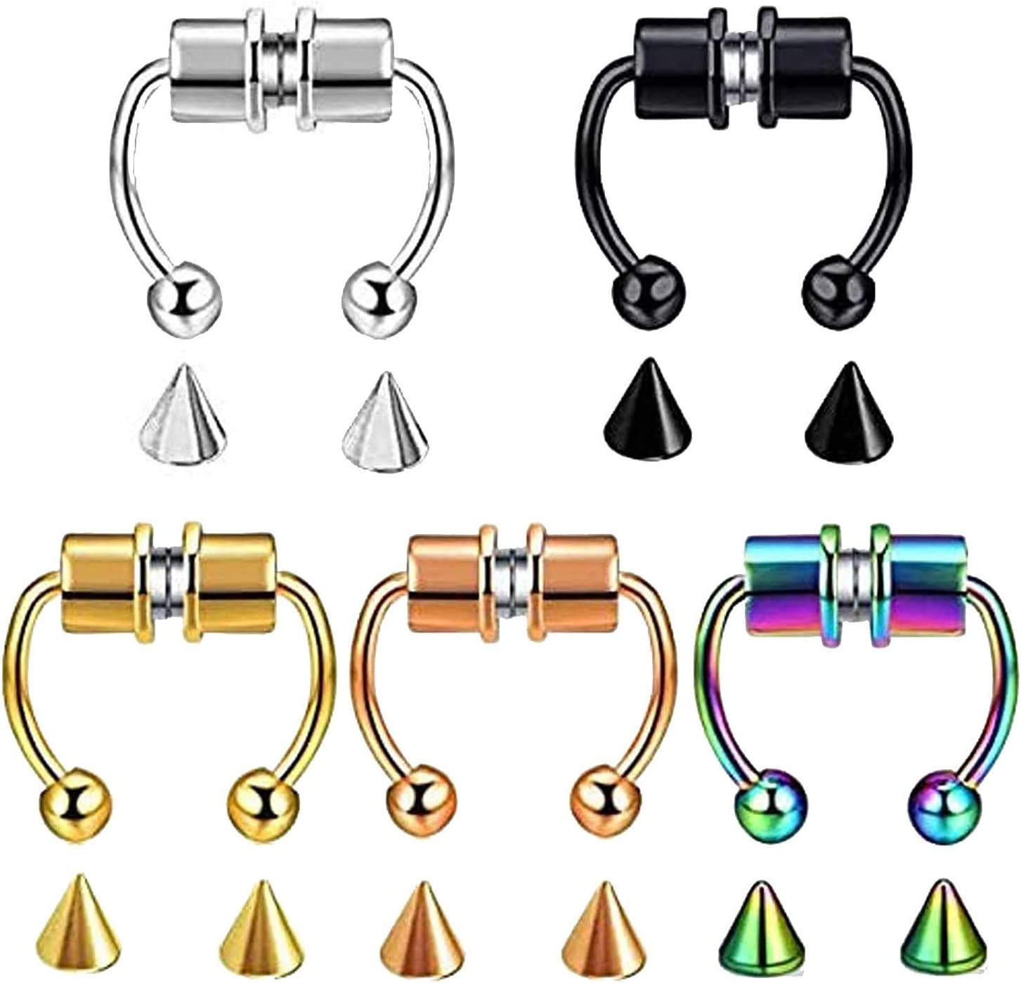 FRSH MNT Fake Nose Ring Septum Super beauty product restock Max 53% OFF quality top Hoop Horseshoe Magnetic