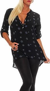 malito more than fashion Malito Damen Bluse mit Print | Tunika mit ¾ Armen | Blusenshirt auch Langarm tragbar | Elegant - Shirt 6703