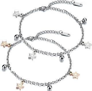 JewelryWe - Cavigliera da donna, con pentagramma e stella, in acciaio inossidabile, argento e oro rosa