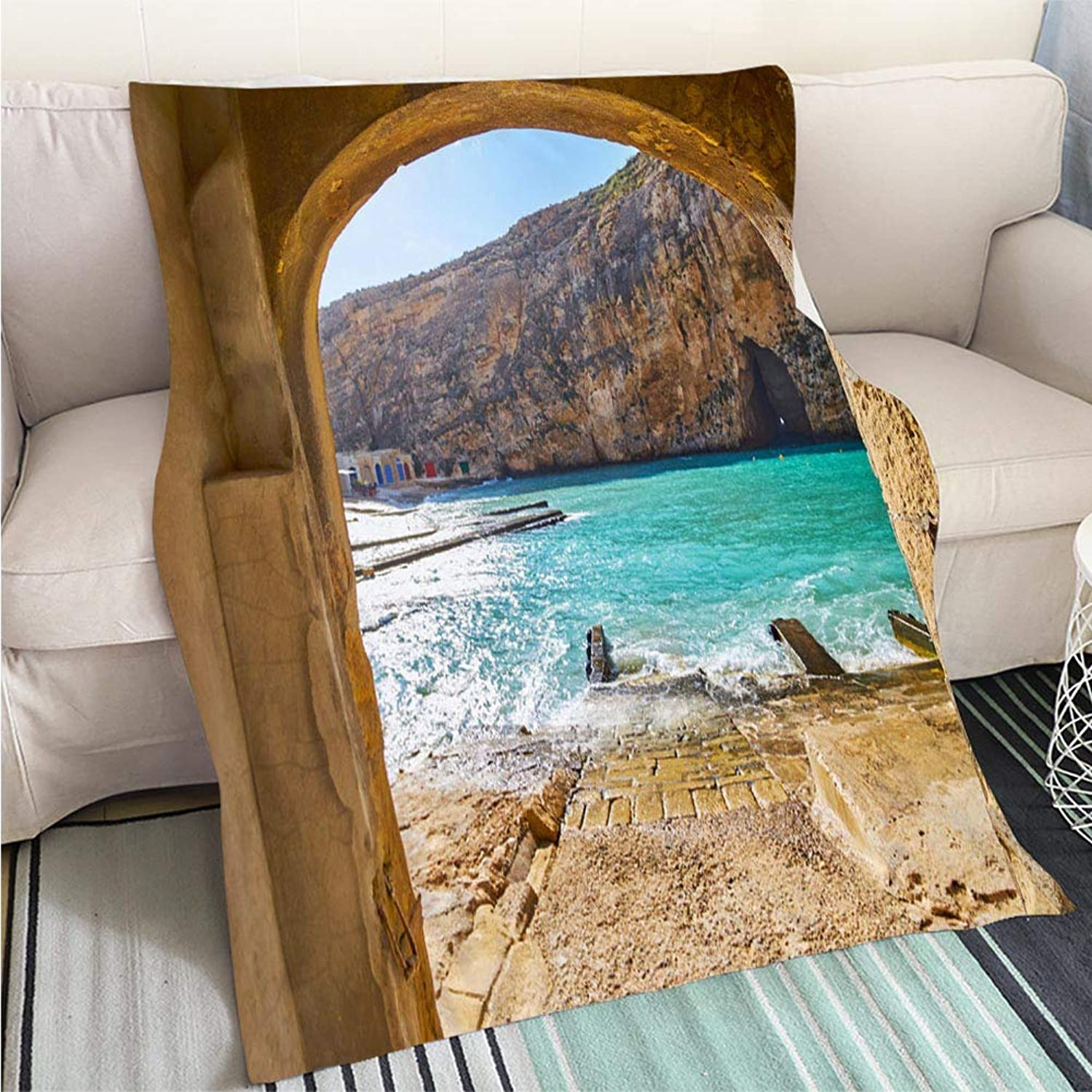 Creative Flannel Printed Blanket for Warm Bedroom Dwejra Inland Sea Through The Arch San Lawrenz Gozo Malta Perfect for Couch Sofa or Bed Cool Quilt