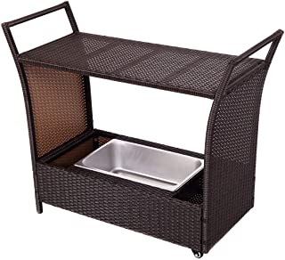 Kenwell 80 Quart Rolling Outdoor Patio Cooler Cart on Wheels Brown for Patio Pool Party Portable Wicker Faux Rattan Tub Trolley with Wheels Shelf /& Bottle Opener