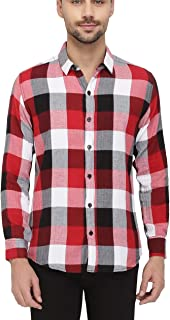 Nick&Jess Mens Casual Red & White Plaid Check Flannel Slim Fit Shirt