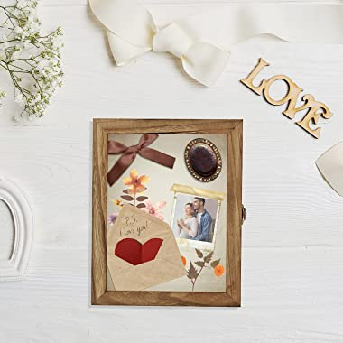 TJ.MOREE Shadow Box Frame 8 x 10 Shadowbox Display Case Picture Frame with Linen Back Memorabilia Bouquet Medals Military Pho