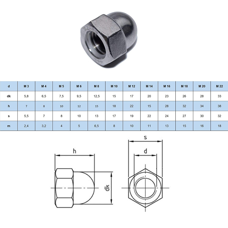 DIN 1587 A2 Dadi esagonali M3 forma alta 25 pezzi in acciaio inox