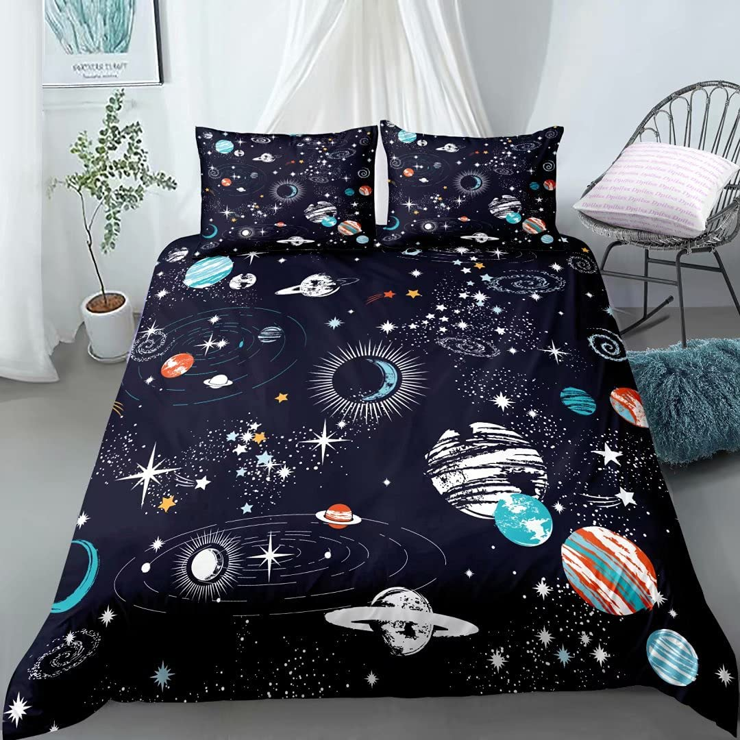 Space Duvet Cover Twin Size Galaxy Very popular for Teens Boys Opening large release sale Constellation