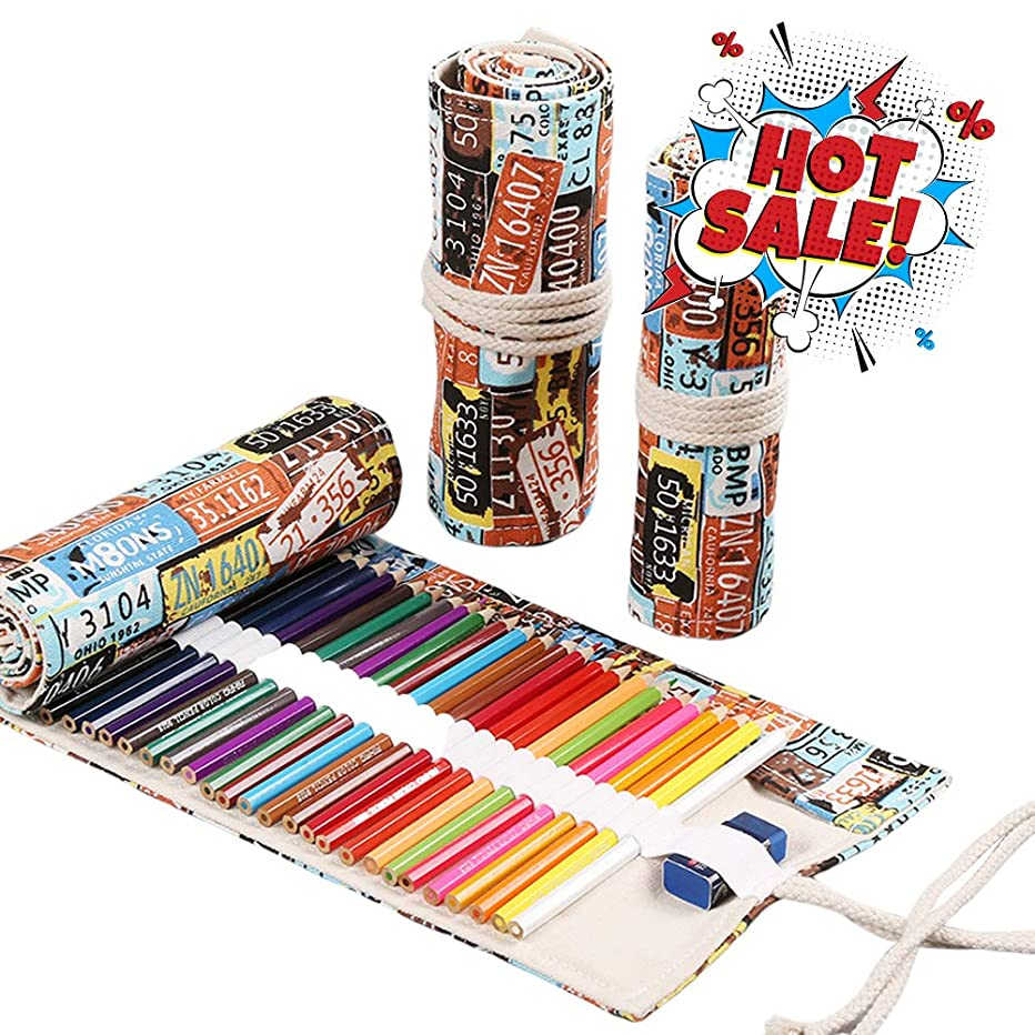 Land Joker Canvas Pencil Wrap 72 Holes, for Artist and Students Travel Painting Art Creation, The Colored Pencils Best Partner. License Plate. (Warm Reminder:Pencils are NOT Included)