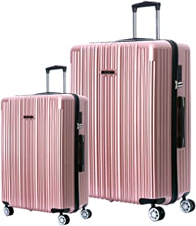 Hardshell Luggage Sets with Spinner Wheels Checked Carry On Luggage [ Rose Gold ] 29 Inch 22 Inch 2 Piece Set German Design TSA Lock ABS+PC