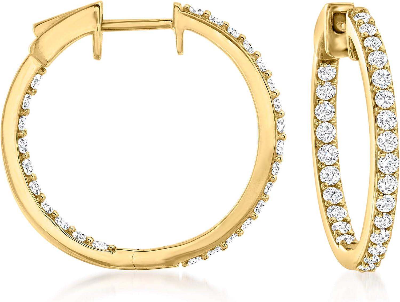 Ross-Simons 1.00 ct. t.w. Diamond Inside-Outside Hoop Earrings in 14kt Yellow Gold